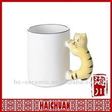 Ceramic 3d animal mug, animal handle mug