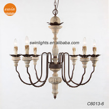 Best Seller RH natural wood six lights chandelier,Parisian Vintage rustic iron pendant light livingroom with ul/CE