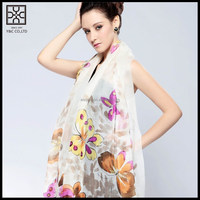 White Silk Printed Lady Scarf