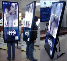 Factory new design hot sale led backpack light box for mobile advertising , walking backpack sign,back pack billboard