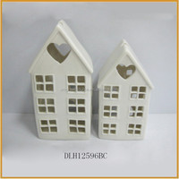Chinese white ceramic house shaped with tealight candle holder crafts