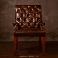 Rustic Style Brown Antique Leather Dinning Chair