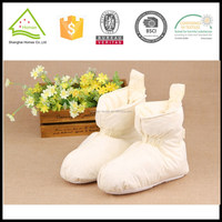 Natural cotton fabric white goose down filled home shoes, home boots