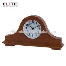 antique mantel clock with painting case, classical wood desktop clock