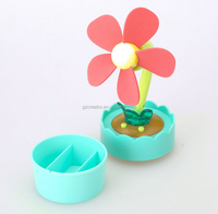 Flower Pot USB Powered EVA Soft Blade Fan AAA Battery Operation with Night Lamp Safe ABS Fan Electrical Gadget Gift
