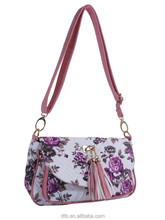 Floral Cotton Quilted Handbag with Charming Tassels