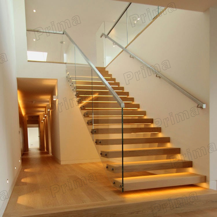 Home Glass Railing Stainless Steel Floating Stairs Wood