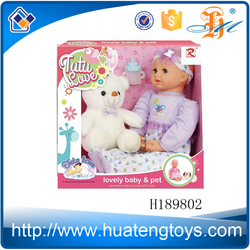 """H189802 New arrival kids game toy 19"""" vinyl silicone baby doll wholesale made in china with a pet"""