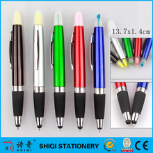 Plastic multi-color multi-function highlighter stylus touch ball pen