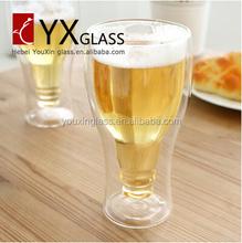 300ml hand blown new design double wall cup 11oz double glass cup 400ml double wine glass pint beer glass mug