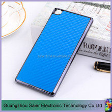 carbon fiber cross grain plating pc protected mobile phone case for huawei p8