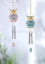Owl ceramic outdoor bells with garden solar LED light