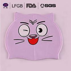 high quality low price non-toxic elastic durable silicone ear swim cap / cartoon design cute cool swim caps in food grade level