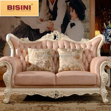 European Classical Sweet Pink Genuine Leather Sofa