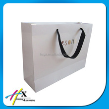 custom high quality branded white paper bag for shopping and gift