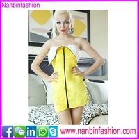 Off shoulder zipper banana fruit costume for adult dress in big stock