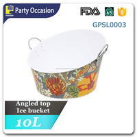 Galvanized Angled top ice bucket with decal pattern GPSL0003