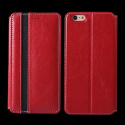 simple and elegant leather flip cover case for apple iphone 6 plus / 6s plus with card slot
