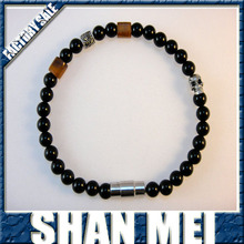 Beaded SP Gemstone Bracelet (Men's): Onyx, Horn, Marcasite with Skull
