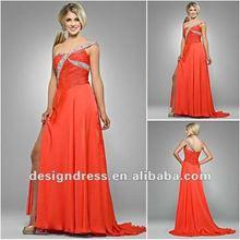 Fashion design elegant sexy one-shoulder asymmetric floor-length rucehed bust chiffon bridesmaid evening dress gown 2012 GE672