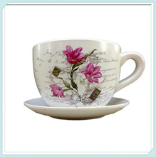 Tea cup and saucer decorative garden planter ceramic flower pot