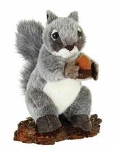 Forest Animals Grey Peluche Squirrel Hold His Pine Nut