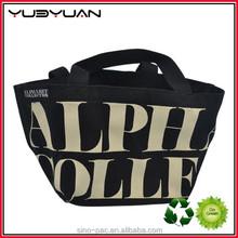 2015 Reusable black shopping bag cotton canvas blank tote bags