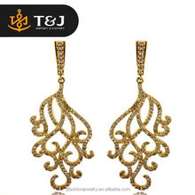 Hot selling Classic Big Drop Earrings Deluxe Cubic indian Gold Silver drop Bridal Wedding Earrings designs