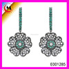 BRIDAL CLEAR CRYSTAL JEWELRY FLOWER HEMATITE HANGING EARRING DESIGN