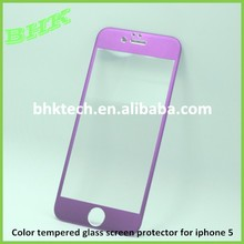 full coverage anti-fingerprint titanium alloy color tempered glass screen protector for iphone 5 5S 5C,0.26mm ultra thin