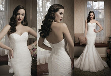 2014 Newest Sweetheart Pleat Sexy Backless Bridal Gowns Off the Shoulder Floor-Length Mermaid Wedding Dresses Custom Made J