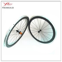 Farsports carbon alloy wheelset 50mm clincher 23mm wide, carbon bicycle wheels with alloy braking surface, edhub 20H/24H