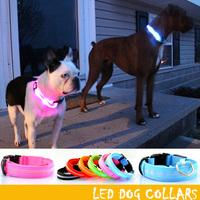 100pcs Pet Safety LED Dog Collar Night Flashing Glow Light Pink Nylon Collar personalized collar pet accessoriesS M L XL DC-2502