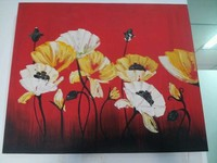 Red background colourful flowers artcraft Oil Painting