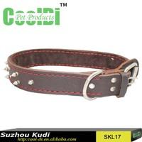 Locking dog genuine leather collar
