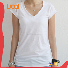 women cotton blank white v-neck tshirt