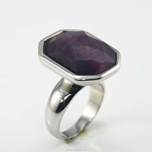 Big gemstone stainless steel ring factory direct wholesale Women's fashiong Jewelry
