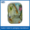 Country style patterned rectangle metal candy tin box