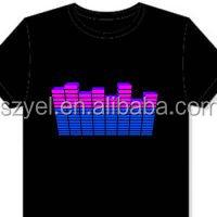 2015 Hottest Wholesale Alibaba LED Light Up EL T shirts,EL Glow T-shirt,Custom LED Light T-shirt Online Shopping