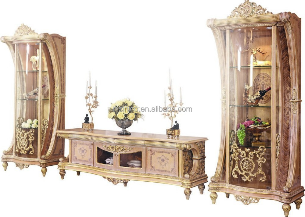 Luxury French Rococo Style Living Room TV Stand European