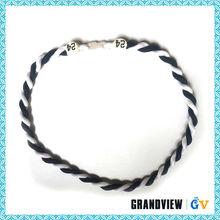 Triple Braided Germanium crochet necklace,cheap sports titanium necklace