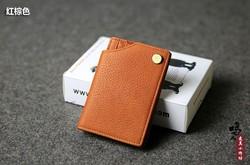 Vintage Fashion Casual 100% Genuine Leather Cowhide Men Women Credit Card ID Holder Holders Mini Wallet Wallets Man