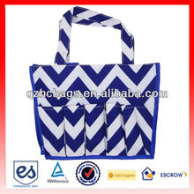 Blue Tote Chevron Bag with multiple pockets (ESC-HB019)