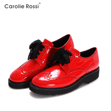 italian shining pu round toe woman flat casual shoes lace up sport safety girl casual shoes