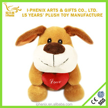 Hot gifts for girlfriend cuddly smiling plush puppy dog toy two colors soft plush puppy dog with heart