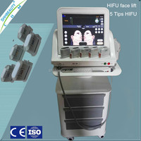 Face and body skin tightening 5 transducers ultrasound hifu anti-wrinkle hifu equipment