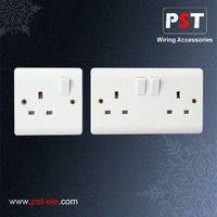 UK Electrical 13A 1 Gang Switched Socket Outlet,Single Pole