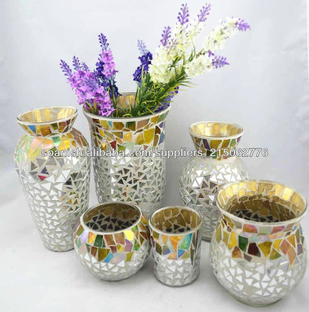 Moderno centro de mesa de mosaico de vidrio florero crackle mosaico de vidrio florero jarrones - Fabrica de floreros de vidrio ...