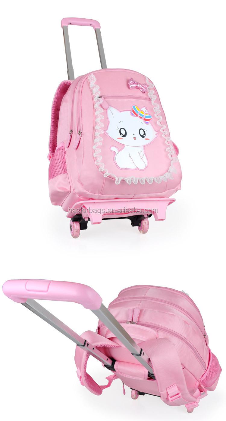 Belle chat sacs d'école avec des roues pour les filles