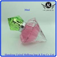 30ml clear diamond shape glass spray perfume bottle with green crown cap